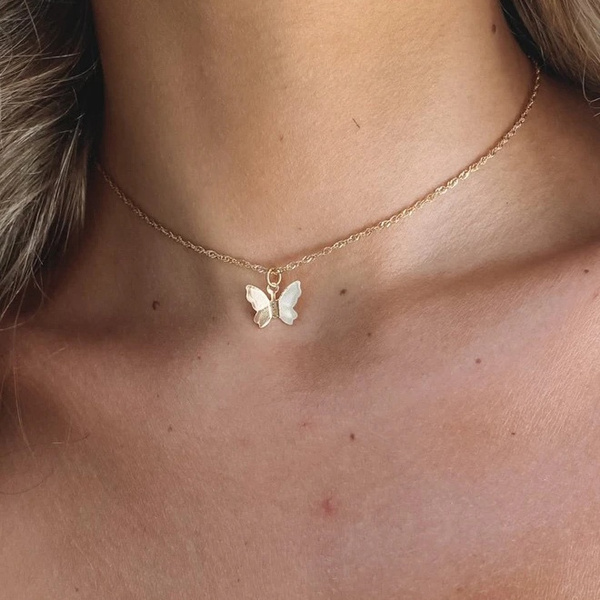 butterfly, Chain Necklace, friendshipnecklace, Jewelry