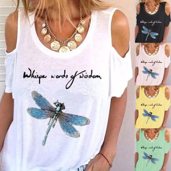Summer, off shoulder top, Plus Size, letter print