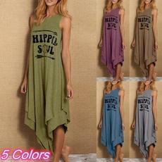 Plus Size, letter print, long dress, Dress