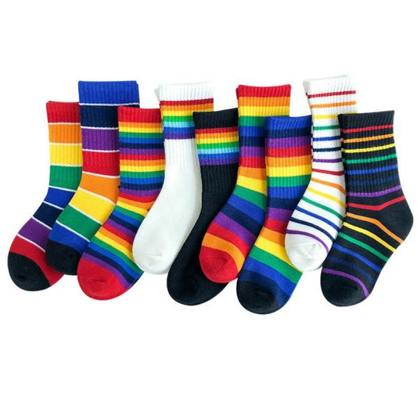 Cotton Socks, rainbow, babygirlssock, Harajuku