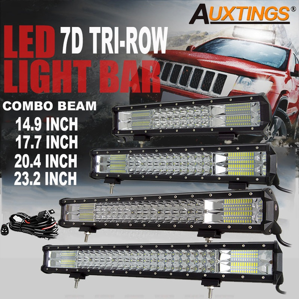 Auxtings 7d Triple Row Led Light Bar Flood Spot Combo Work Lights Offroad Light 4wd Truck Suv Ute Atv Car Driving Lights With Wiring Harness Kit 6000k White Wish