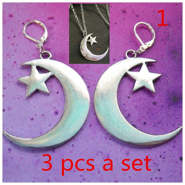 moonearring, NECKLACE AND EARRING SET, Goth, Star