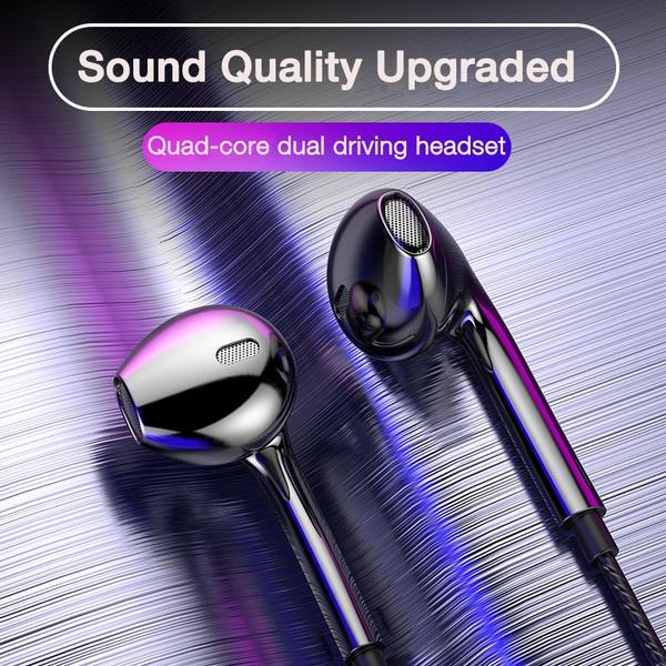 Headset, earbudswithmic, wiredearphone, Bass