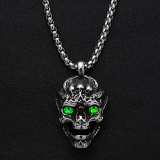 Steel, skullnecklace, hip hop jewelry, Stainless Steel