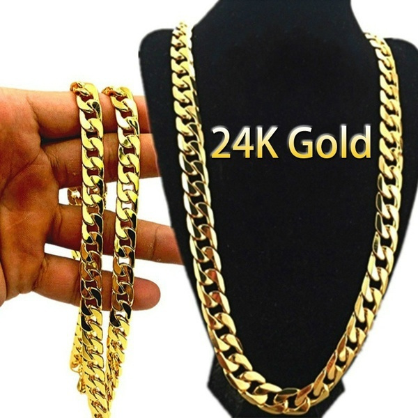 cubanchainnecklace, yellow gold, Goth, Fashion
