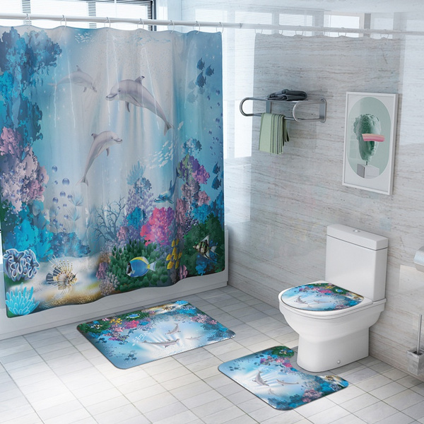 Dolphin Shower Curtain For Kids S, Fish Bathroom Sets
