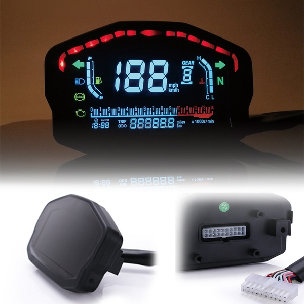Universal Motorcycle Large Screen Led Lcd Digital Speedometer Odometer Backlight For 2 4