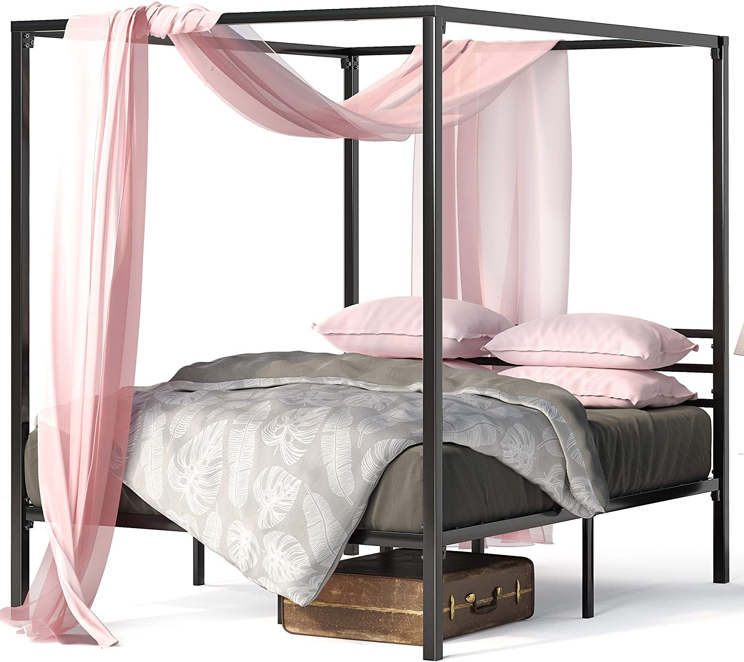 Metal Framed Canopy Four Poster Platform Bed Frame Strong Steel Mattress Support No Box Spring Needed Full Frame Only Wish
