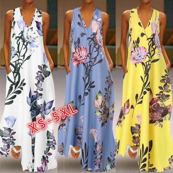 Summer, Plus Size, Floral print, Necks
