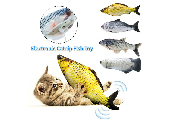Motion-Activated Plush Interactive Fish Stuffed Toys for Kids Toydaze Electric Moving Doll Fish Plush Automatic Realistic Wagging Fishy Plushie Toy Red Carp Rechargeable with USB Cable Provided
