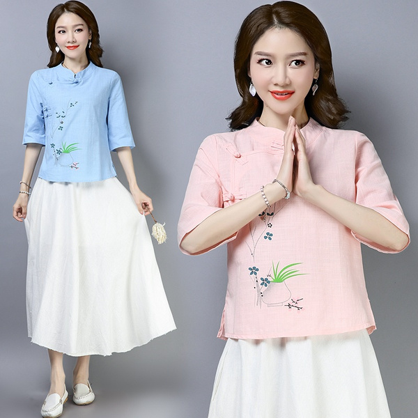 Chinese Style Women Cotton Linen V-neck Tops T-shirt Embroidery Floral Blouse H7
