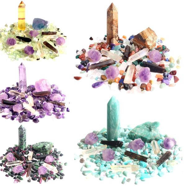 Wholesale Mixed Natural Crystal Amethyst Wandpoint Gravel Set Raw Mineral Specimen Rockstone Colorful Chakra Stone Reikihealing Home Decor Wish