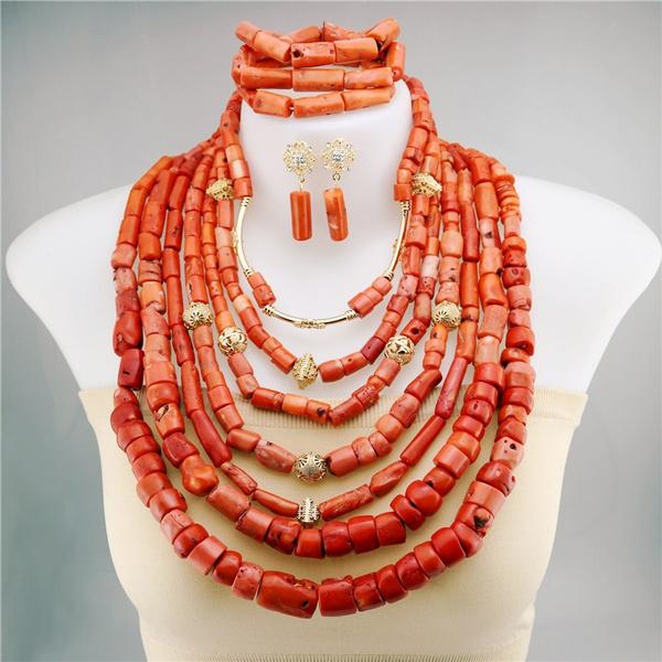africanbeadsjewelry, Jewelry, coralbead, coralbeadsbridal