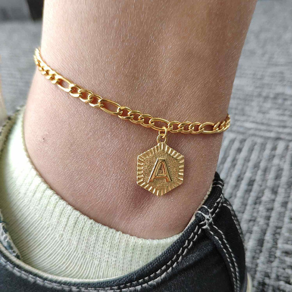 Chain//A-Z Initial Silver Color Letter Anklet Women Alphabet Jewelry Foot Chain