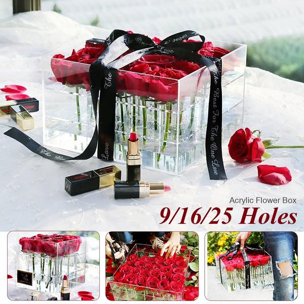 Only Box No Flowers Transparent Acrylic Flower Box Pot Wedding Flower Holder Multifunction Rose Water Holder Eyeliner Organizer Storage Box Wish
