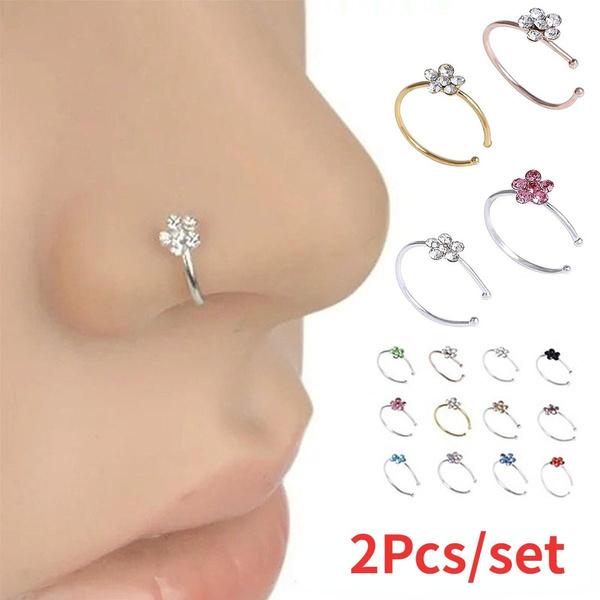 Stud, Flowers, septumring, Crystal Jewelry