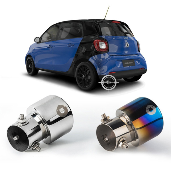 Color : Silver Car Decorative Exhaust Head Passion Car Exhaust Pipe Refit Stainless Steel Tail Throat Car Decoration for Smart 453 Fortwo Forfour 2015 2016 2017 2018 Decorations