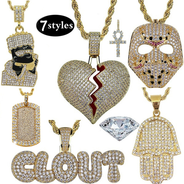 Heart, hip hop jewelry, necklaceaccessorie, gold