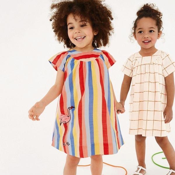 Summer, girls dress, short sleeve dress, Colorful