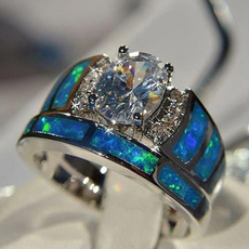 Blues, 925 sterling silver, wedding ring, opals