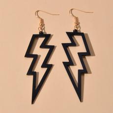 blackearringsforwomen, lightningearring, earrings jewelry, punk earring