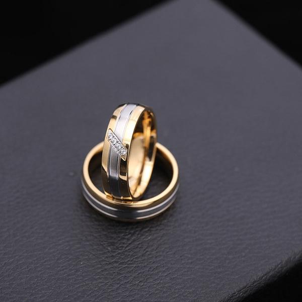 Steel, DIAMOND, wedding ring, Silver Ring