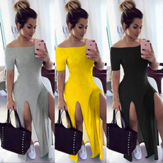 long skirt, bifurcate, awordshoulder, Dress