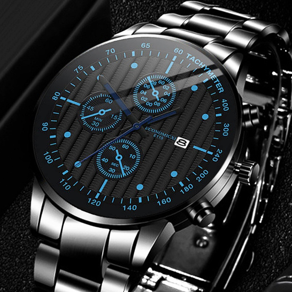 Steel, quartz, business watch, Classics