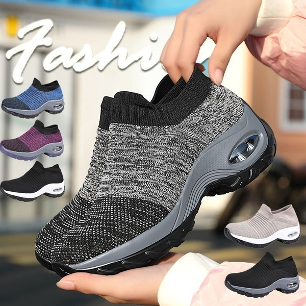 Women Casual Sport Shoes Walking Platform Breathable Mesh Running Wedges Shoes
