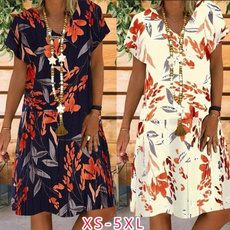 Summer, Plus Size, Floral print, Necks