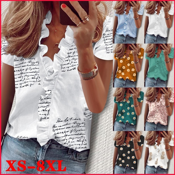 blouse, Plus size top, ruffle, Summer