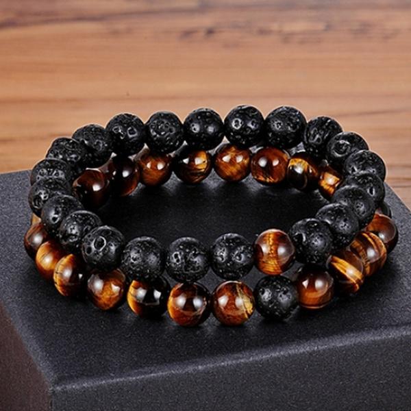 Beaded Bracelets, Elastic, bracelets for couple, frostedagatebracelet