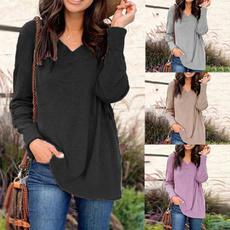 Fashion, loose top, Round Collar, Long sleeved