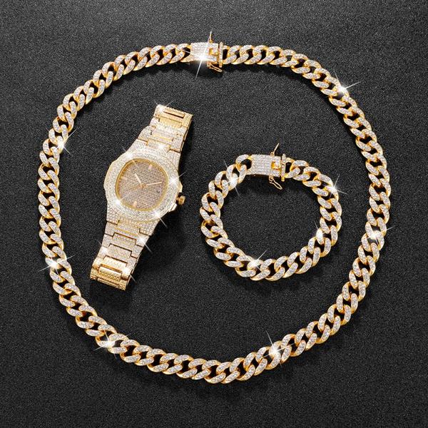 hip hop jewelry, gold, Watch, Men