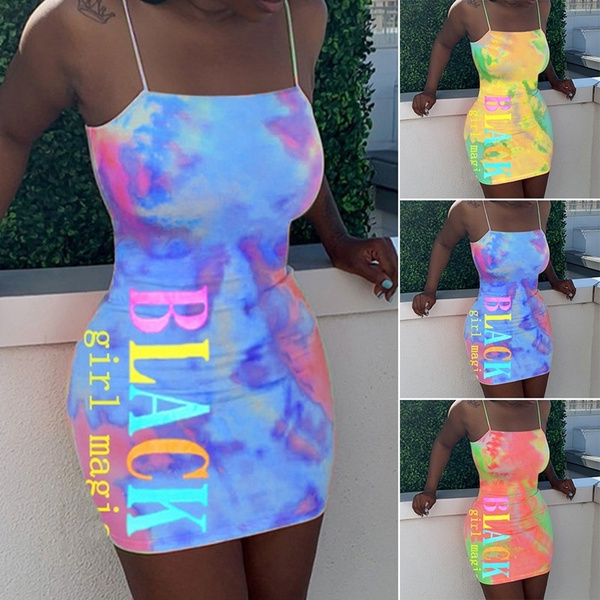 Hotkey Womens Casual Sleeveless Adjustable Strappy Mini Dress Summer Vintage Tie-dye Print Cocktail Party Short Dress