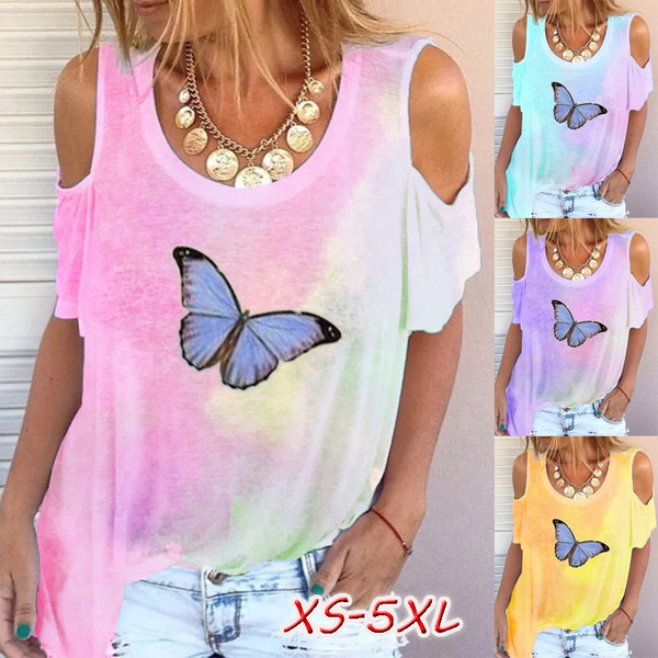 Fashion Women's Short Sleeves Shoulder Off Tie Dye Gradient Print T shirt Butterfly Printed T Shirts Tops Blouses Plus Size   Wish