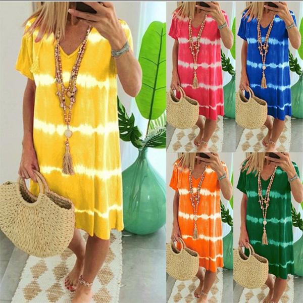 Summer, shortsleeveddresse, Plus Size, Dresses