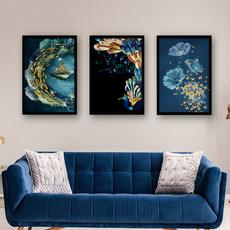 peacock, canvasart, Flowers, art