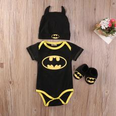 newborntoddler, babyromper, Long Sleeve, 3pcsbatmanoutfit