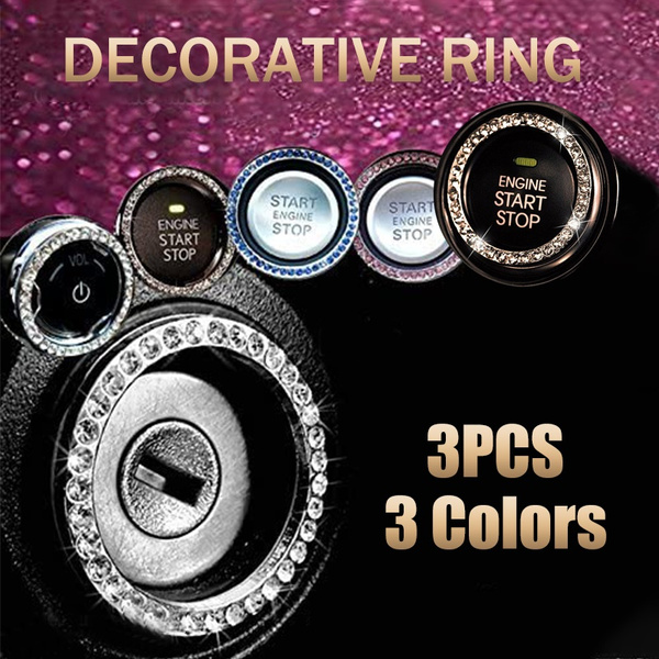 INCART Blue 2 pcs Bling Crystal Rhinestone Decorative Ring Emblem Sticker for Auto Engine Start Ignition Key Button//AC Control Knobs//Volume and Tune Knobs