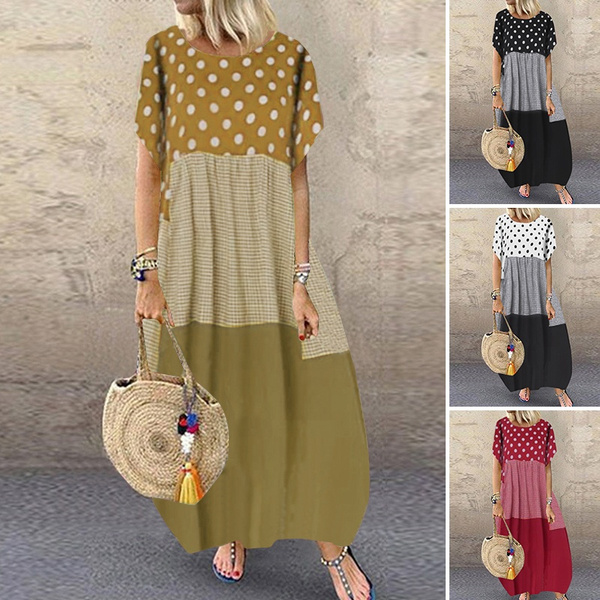 kaftanwomen, Summer, short sleeve dress, cottonlinendres
