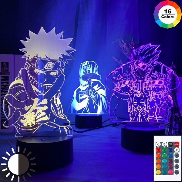 Anime Naruto Uzumaki Led Night Light Team 7 Sasuke Kakashi Hatake Kids Bedroom Nightlight Itachi Uchiha 3d Lamp Child Xmas Gift Wish