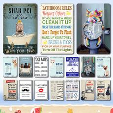 Bathroom, metalsign, art, Home Decor
