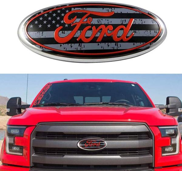 06-11 Ranger 11-16 Explorer 9inch Ford Tailgate Emblem F150 Emblem Oval 9X3.5 Ford Front Grille Emblem Decal Badge Nameplate Also Fits for 04-14 F250 F350 11-14 Edge
