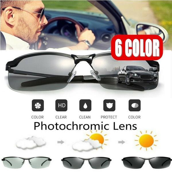 Men/'s Photochromique Lunettes De Soleil Polarisées Transition Lens Outdoor Driving Lunettes