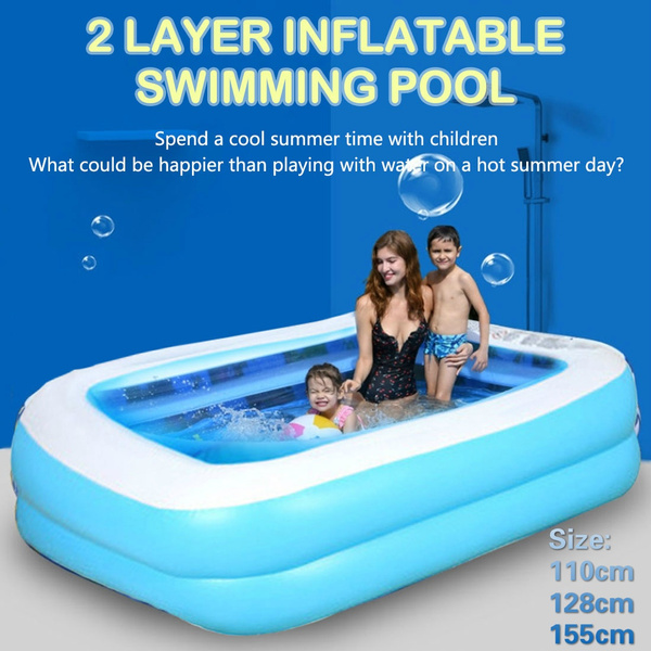110 128 155cm Swimming Pools For Family Kids Adult Inflatable Square Pool High Quality Outdoor Indoor Children S Bathing Tub Home Use Paddling Large Size Thickened Pool Pool For Baby Wish