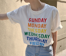 Summer, letter print, Funny T Shirt, Cotton