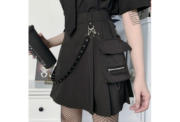Details about  /Womens Girl Punk Cargo Skirts Casual Gothic Frill Pocket Pleated Japanese Chain