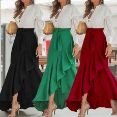 long skirt, Plus Size, ruffle, high waist skirt