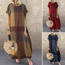 basicdres, short sleeve dress, Plaid Dress, cottonlinendres